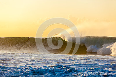 Large Wave Dawn Surfer
