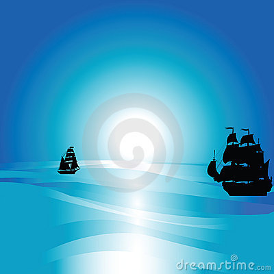 Ocean lendscape with  silhouettes of sailing ship