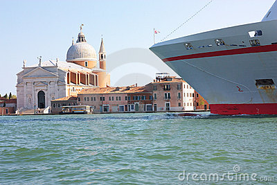 Ocean liner on Venice canal
