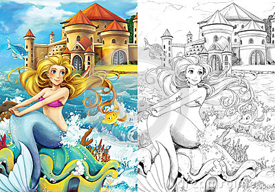 the ocean and the mermaids coloring page stock images image 33576904