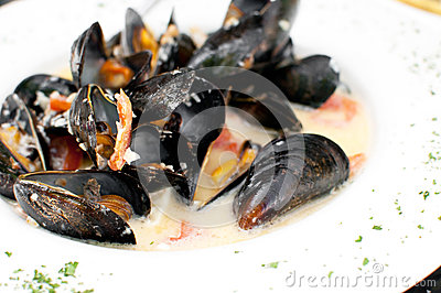 Ocean mussels dish cooked