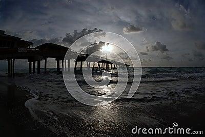 ocean pier at sunrise