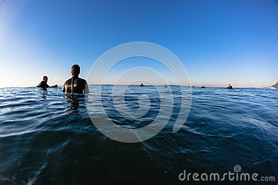 Ocean Riders Morning Waves Waiting Editorial Image