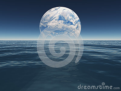 Ocean or sea of alien world or earth with terraformed moon