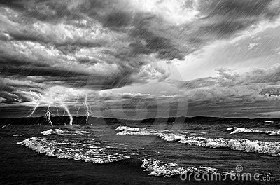 Ocean Storm And Flash Lighting