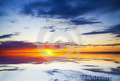 Ocean on sunset.