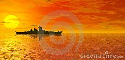 Ocean sunset and battleship