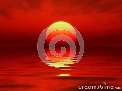 Ocean sunset red