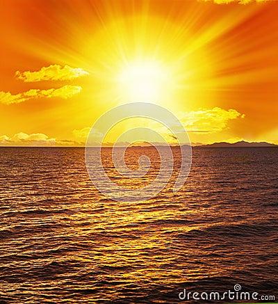 Ocean Sunset Sun Water Waves