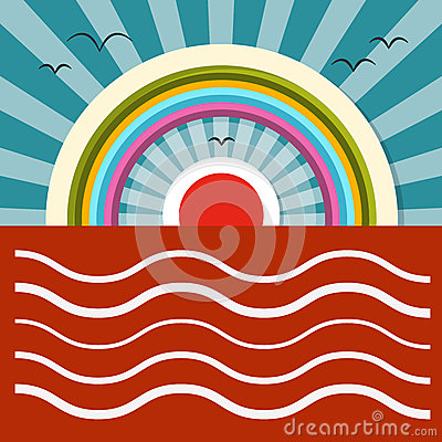 Ocean Sunset - Sunrise Vector Illustration