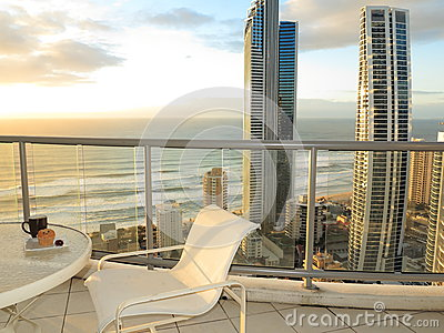 Balcony ocean view at sunrise Editorial Stock Photo
