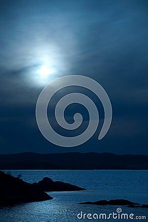 Ocean view in the moonlight