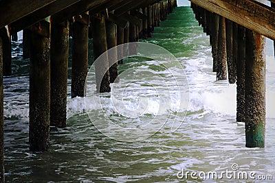 Ocean Water Waves Under Pier