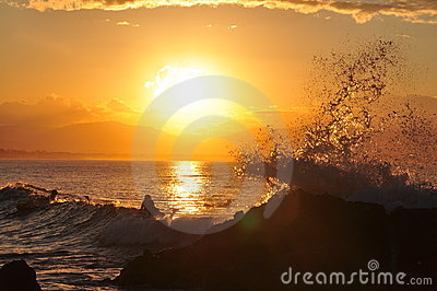 An ocean wave splashes off rocks in golden sunset