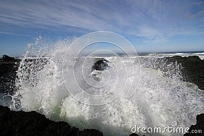 Ocean wave spray.