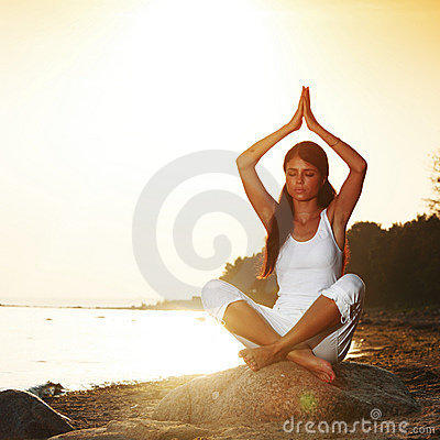 Ocean yoga sunrise