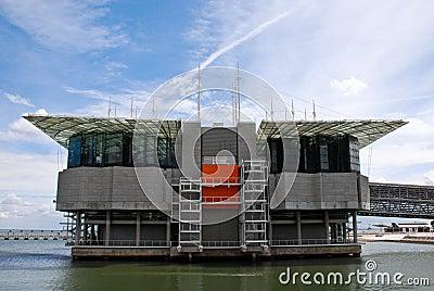 Oceanarium building in Nations Park at Lisbon.