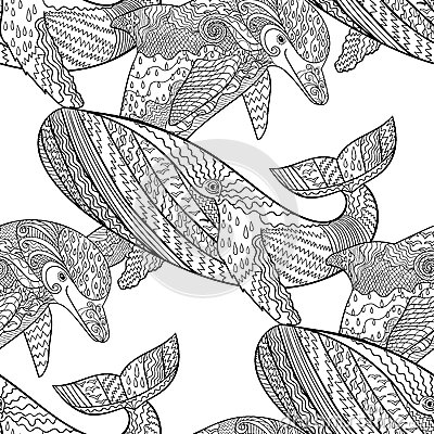zentangle tile template - oceanic animal zentangle seamless pattern stock vector
