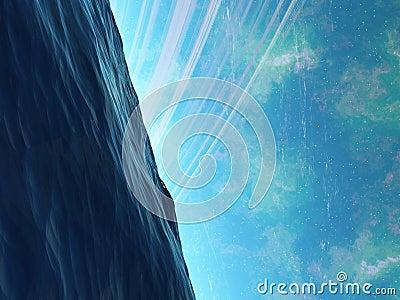 Oceano de Arkology do planeta com o algo que espreita