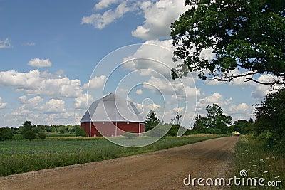 Octagonal barn in countryside