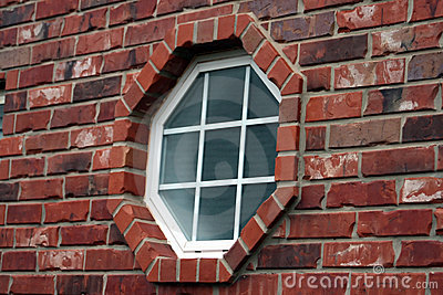 Octagonal Window In Brick Royalty Free Stock Images