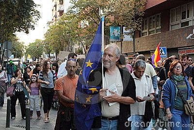 October 15th movement in Girona,Spain Editorial Stock Photo