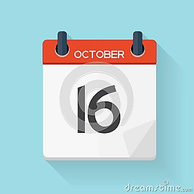 Free October 17 Calendar Flat Daily Icon. Vector Illustration Emblem. Royalty Free Stock Photo - 78576005