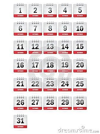 October Calendar Icons