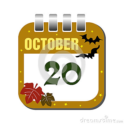 October twenty calendar sheet