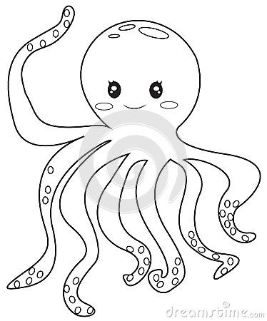 Octopus Coloring Page Stock Illustration Image