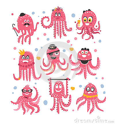 Octopus Emoticon Icons With Funny Cute Cartoon Marine Animal Characters In Different Disguises At The Party Vector Illustration
