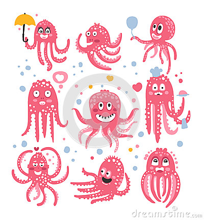 Octopus Emoticon Icons With Funny Cute Cartoon Marine Animal Characters In Love And Expressing Different Emotions Vector Illustration