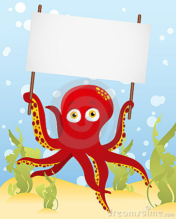 Octopus holding blank sign