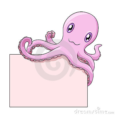 Octopus holds a blank