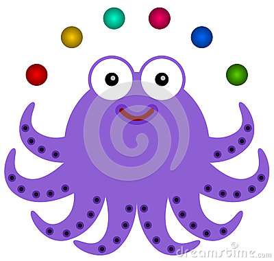 Octopus juggles
