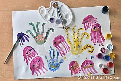 Octopus kids drawing