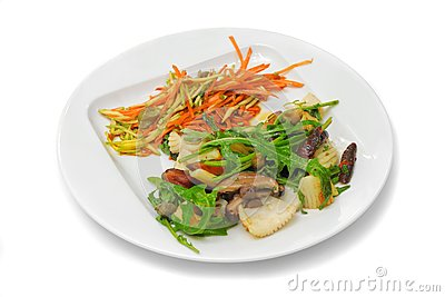 Octopus with mushrooms, carrot and seaweed