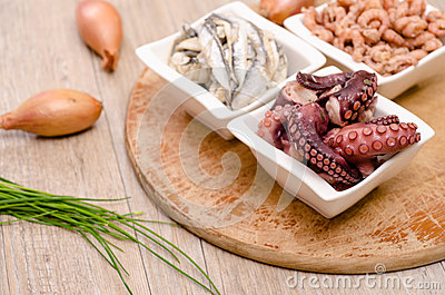 Octopus, sardines and shrimps