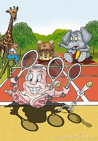 Free Octopus Tennis Player Royalty Free Stock Images - 20802319