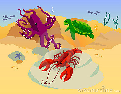 Octopus Turtle Lobster Ocean Vector