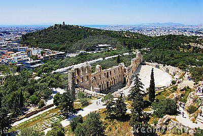 Odeon of Herodes and Philopappus hill in Athens