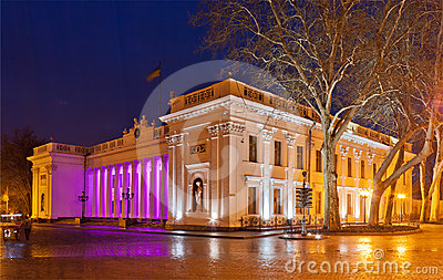 Odessa City Hall at night