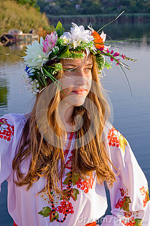 Odessa region, village Vizirka, Ukraine - 6  July 2013: holiday Ivana Kupala Night Editorial Stock Image