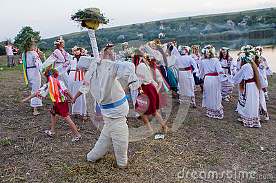 Odessa region, village Vizirka, Ukraine - 6  July 2013: holiday Ivana Kupala Night Editorial Photo
