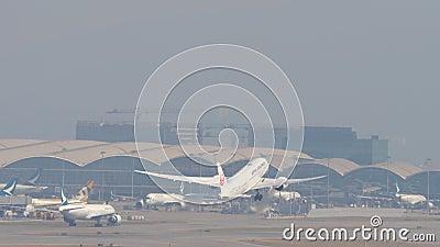 Odlot samolotu z międzynarodowego lotniska, Hongkong zbiory