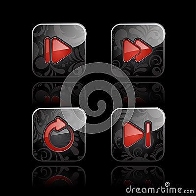 Odtwarzacz medialny ikony set