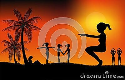 Oefening bij zonsondergang