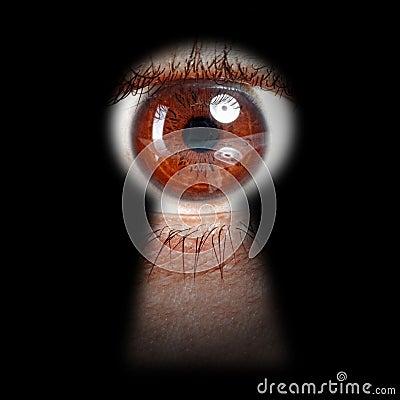 Oeil jetant un coup d 39 oeil par un trou de la serrure images libres de droits image 37929109 - Oeil qui gonfle d un coup ...