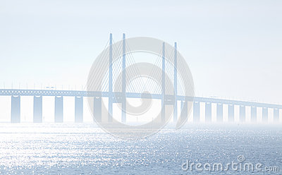 The Oeresundsbridge seen from Scania Sweden