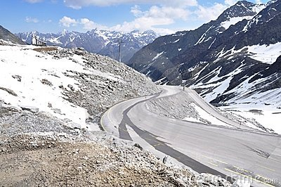 Oetztal Valley, alpine road and chapel, Austria